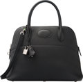 Luxury Accessories:Bags, Hermes 31cm Black Clemence Leather Mou Bolide Bag with PalladiumHardware. T, 2015. Excellent to Pristine Condition...