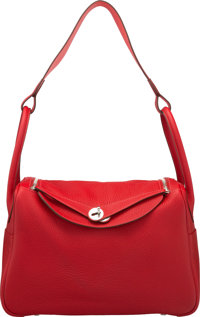 Hermes Limited Edition 34cm Rouge Casaque Clemence Leather & Rose Jaipur Eclat Lindy Bag with Palladium Hardware &am...