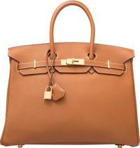 Hermes 35cm Gold Togo Leather Birkin Bag with Gold Hardware G Square, 2003 Excellent to Pristine Condition