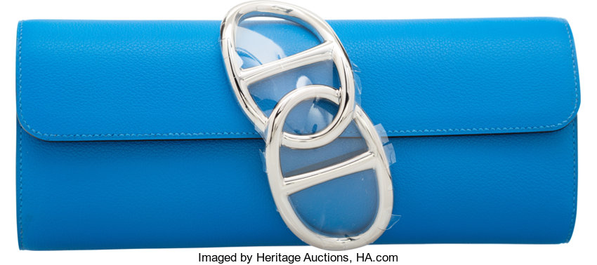 a9ea230808ac Hermes Blue Hydra Evercolor Leather Egee Clutch Bag with
