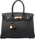 Luxury Accessories:Bags, Hermes 30cm Black Fjord Leather Birkin Bag with Gold Hardware. K Square, 2007. Excellent to Pristine Condition. 12...