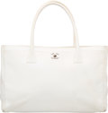 "Luxury Accessories:Bags, Chanel White Leather Cerf Tote Bag. Good Condition. 13.5"" Widthx 9"" Height x 3.5"" Depth. ..."