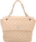 "Luxury Accessories:Bags, Chanel Beige Quilted Caviar Leather Tote Bag. Very Good toExcellent Condition. 12"" Width x 12"" Height x 4.5"" Depth..."
