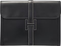 "Luxury Accessories:Bags, Hermes Black Calf Box Leather Jige GM Clutch Bag. B Square,1998. Very Good Condition. 13"" Width x 10"" Height x1""..."