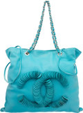 "Luxury Accessories:Bags, Chanel Turquoise Lambskin Leather CC Tote Bag. Very Good toExcellent Condition. 17"" Width x 15"" Height x 2"" Depth...."