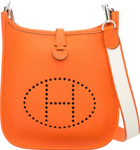 Hermes Feu Clemence Leather Evelyne TPM Bag with Palladium Hardware T, 2015 Pristine Condition