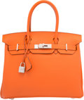"Luxury Accessories:Bags, Hermes 30cm Orange H Togo Leather Birkin Bag with PalladiumHardware. M Square, 2009. Pristine Condition. 12""Widt..."