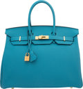 Luxury Accessories:Bags, Hermes 35cm Turquoise Togo Leather Birkin Bag with Gold Hardware. R Square, 2014. Excellent to Pristine Condition. ...