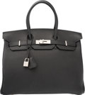Luxury Accessories:Bags, Hermes 35cm Black Togo Leather Birkin Bag with Palladium Hardware.H Square, 2004. Excellent to Pristine Condition. ...