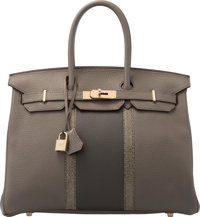 Hermes Limited Edition 35cm Etain & Graphite Clemence Leather and Gris Fonce Nilo Lizard Club Birkin Bag with Pe...