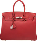 Luxury Accessories:Bags, Hermes 35cm Rouge Garance Vache Trekking Leather Birkin Bag withPalladium Hardware. M Square, 2009. Excellent toPris...