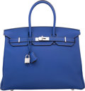 Luxury Accessories:Bags, Hermes Special Order Horseshoe 35cm Blue Electric & GraphiteTogo Leather Birkin Bag with Palladium Hardware. Q Square,20...