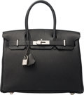 Luxury Accessories:Bags, Hermes 30cm Black Togo Leather Birkin Bag with Palladium Hardware. H Square, 2004. Excellent to Pristine Condition. ...