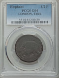 (1694) 1/2 P London Elephant Token, Thick Planchet, Good 4 PCGS. PCGS Population: (4/198). NGC Census: (1/51). ...(PCGS#...