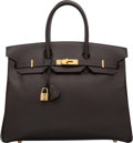 """Luxury Accessories:Bags, Hermes 35cm Havane Courchevel Leather Birkin Bag with Gold Hardware. D Square, 2000. Very Good Condition. 14"""" Widt..."""