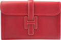 "Luxury Accessories:Bags, Hermes Rouge Vif Calf Box Leather Jige MM Clutch Bag. A Square,1997. Very Good to Excellent Condition. 11.5""Widt..."