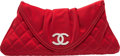 """Luxury Accessories:Bags, Chanel Red Quilted Satin Half Moon Clutch Bag. Very GoodCondition. 11.5"""" Width x 5"""" Height x 1"""" Depth. ..."""