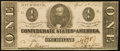Confederate Notes:1863 Issues, CSA - T-62 $1 April 6, 1863 About Uncirculated.. ...