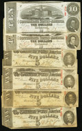 Confederate Notes:1863 Issues, CSA - Lot of 6 1863 $10 and $5 Notes.. ... (Total: 6 notes)
