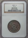 1848 1C N-27, R.2, MS64 Brown NGC. NGC Census: (4/0). PCGS Population: (1/3). CDN: $345 Whsle. Bid for problem-free NGC/...
