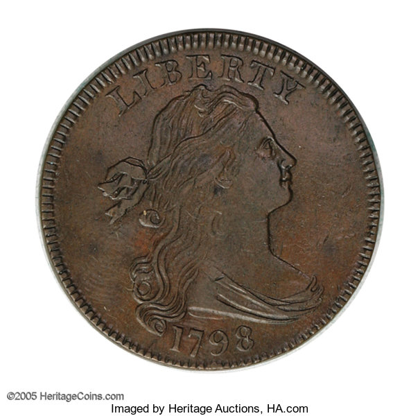 1798 1C First Hair Style  S-157, B-15, R 2  AU55 NGC  XF40 EAC