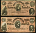 Confederate Notes:1864 Issues, CSA - Lot of 2 T-65 1864 $100 Bright Red Tints.. ... (Total: 2 notes)