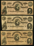 Confederate Notes:1864 Issues, CSA - Lot of 3 T-65 1864 $100 Notes.. ... (Total: 3 notes)