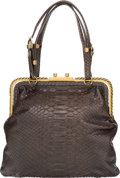 "Luxury Accessories:Bags, Bottega Veneta Brown Python Tote Bag. Excellent Condition.10"" Width x 9"" Height x 3"" Depth. ..."