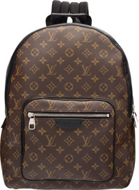 Louis Vuitton Classic Monogram Canvas & Black Leather Josh Backpack Bag Excellent to Pristine Condition