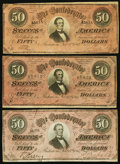 Confederate Notes:1864 Issues, CSA - Lot of 3 T-66 1864 $50 Notes.. ... (Total: 3 notes)