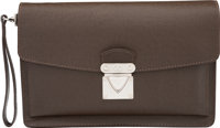 "Louis Vuitton Brown Taiga Leather Belaia Clutch Bag Very Good to Excellent Condition 10.5"" Width"
