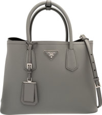 """Prada Marmo Gray Saffiano Leather Lux Tote Bag Excellent Condition 13"""" Width x 10"""" Height x 6"""" De"""