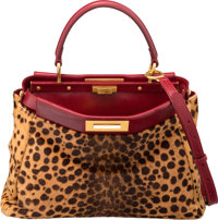"Fendi Brown Leopard Ponyhair & Red Leather Peek-A-Boo Bag Excellent Condition 13.5"" Width x 10"" H"