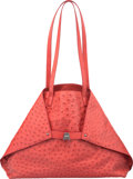 """Luxury Accessories:Bags, Akris Lipstick Red Ostrich Small Ai Bag. Pristine Condition. 15""""Width x 11"""" Height x 4"""" Depth. ..."""