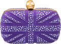 "Luxury Accessories:Bags, Alexander McQueen Purple Suede & Crystal Union Jack Skull Clutch Bag . Excellent Condition. 5.5"" Width x 4.5"" Height x..."