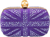 "Alexander McQueen Purple Suede & Crystal Union Jack Skull Clutch Bag Excellent Condition 5.5"" Wi"