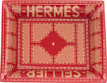 "Luxury Accessories:Home, Hermes Red & Gold Limoges Porcelain ""Hermes Sellier,"" ChangeTray. Pristine Condition. 8"" Width x 1.5"" Height x 7""Dep..."