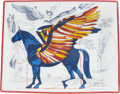 """Luxury Accessories:Home, Hermes White & Blue Limoges Porcelain """"Pegasus,"""" Change Tray.Pristine Condition. 8"""" Width x 1.5"""" Height x 7""""Depth..."""