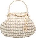"Luxury Accessories:Bags, Chanel Beige Boucle Tweed Knitting Bag. Very Good Condition.12"" Width x 10"" Height x 5"" Depth. ..."