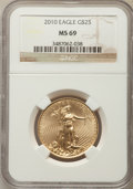 Modern Bullion Coins, 2010 $25 Half-Ounce Gold Eagle MS69 NGC. NGC Census: (4016/2500). PCGS Population: (14/24). ...