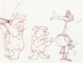 Animation Art:Production Drawing, The Flintstones Fred and Barney Layout Drawing(Hanna-Barbera, 1963)....