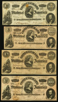 Confederate Notes:Group Lots, CSA - Lot of 4 Mixed Pickens Style $100 Notes.. ... (Total: 4notes)