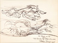 Animation Art:Production Drawing, Chuck Jones - Road Runner and Wile E. Coyote Sketch (Warner Brothers, 1985)....