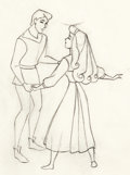 Animation Art:Production Drawing, Sleeping Beauty Briar Rose and Prince Phillip AnimationDrawing (Walt Disney, 1959).. ...