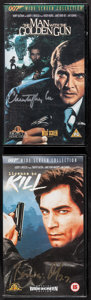 """Movie Posters:James Bond, The Man with the Golden Gun & Others Lot (Warner Home Video, 1996). Autographed British VHS Tapes (2) (4.75"""" X 8""""), British ... (Total: 10 Items)"""