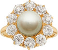 Estate Jewelry:Rings, Natural Pearl, Diamond, Gold Ring. ...