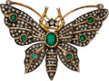 Estate Jewelry:Brooches - Pins, Emerald, Diamond, Gold, Silver Brooch. ...