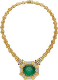 Estate Jewelry:Necklaces, Emerald, Diamond, Sapphire, Gold Necklace. ...