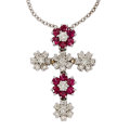 Estate Jewelry:Necklaces, Ruby, Diamond, White Gold Pendant-Necklace. ...