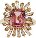 Estate Jewelry:Rings, Pink Spinel, Diamond, Gold Ring. ...